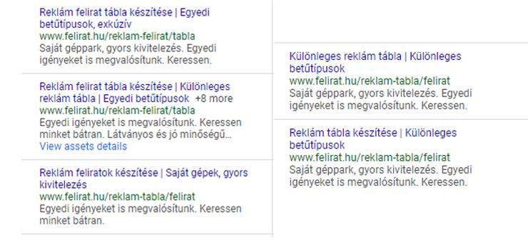 Google hirdetési szövegek