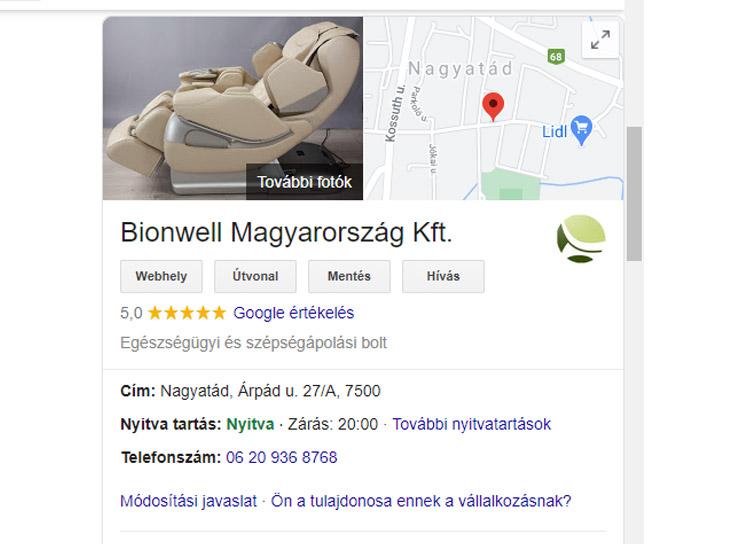 Google cégem oldal a keresőben