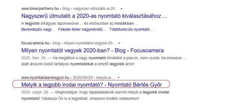 blogírás seo eredmények a google-ben
