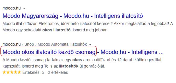 Moodo Google helyezés