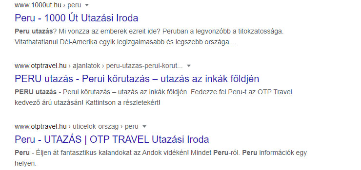első hely a googleben